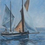 Welsh Lugger at Falmouth  SOLD